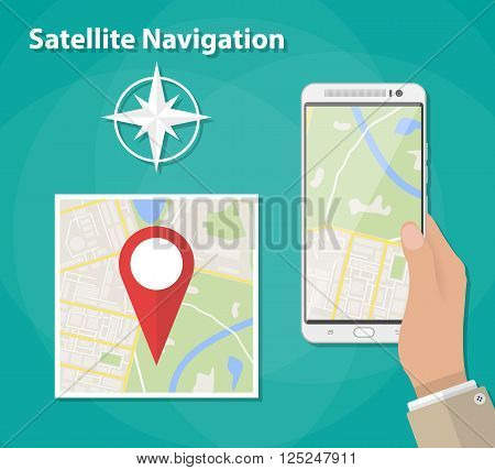 Hand holds smartphone with city map gps navigator on smartphone screen. Mobile navigation concept. City map with red pin. Vector illustration in flat design on green background