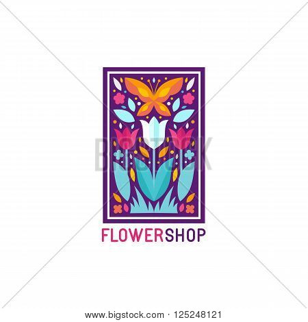 Vector Simple And Elegant Logo Design Template In Trendy Flat Style - Abstract Emblem For Floral Sho