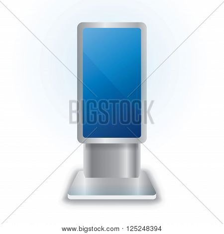 Vector LCD Interactive Information Kiosk Terminal Stand Touch Screen Display, isolated on white background