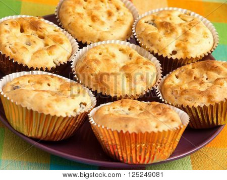 Savory muffins with ham cheese and boiled eggs. Horizontal shot