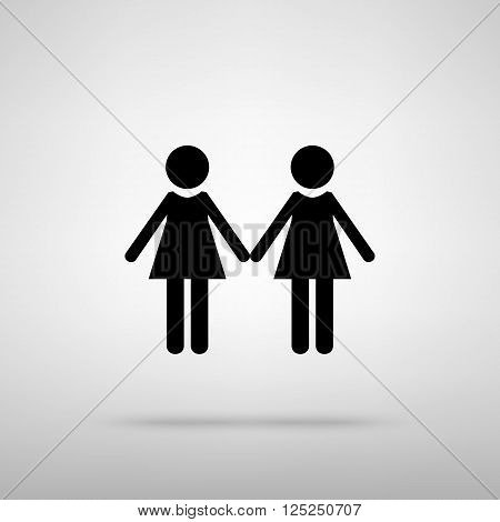 Lesbian family sign. Black with shadow on gray.