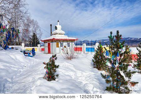 TUNKINSKY DISTRICT BURYATIA RUSSIA - March092016: Stupa