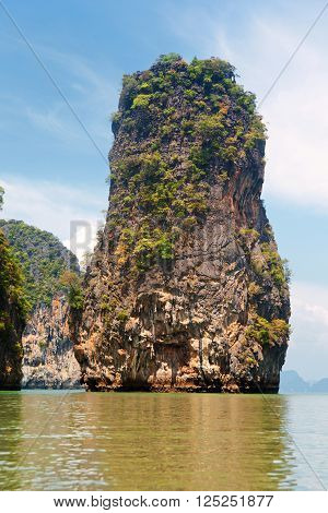 Khao Phing Kan is a pair of islands on the west coast of Thailand, in the Phang Nga Bay, Andaman Sea, near Phuket. Shot on a bright sunny day.