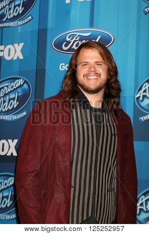 LOS ANGELES - APR 7:  Caleb Johnson at the American Idol FINALE Arrivals at the Dolby Theater on April 7, 2016 in Los Angeles, CA