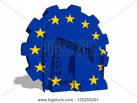3D gear with oil pump gas rig and factory simple icons textured by European Union flag. Heavy and mining industry concept. 3D rendering