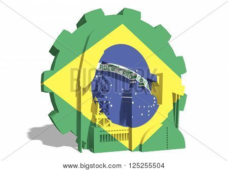 3D gear with oil pump gas rig and factory simple icons textured by Brazil flag. Heavy and mining industry concept. 3D rendering