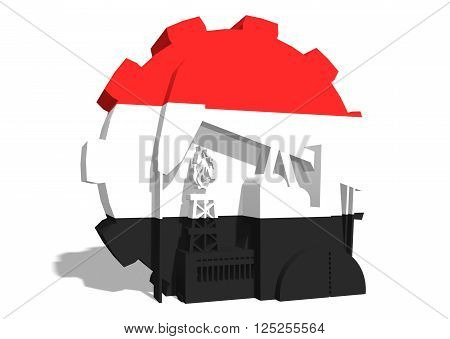 3D gear with oil pump gas rig and factory simple icons textured by Yemen flag. Heavy and mining industry concept. 3D rendering