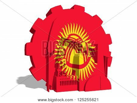 3D gear with oil pump gas rig and factory simple icons textured by Kyrgyzstan flag. Heavy and mining industry concept. 3D rendering