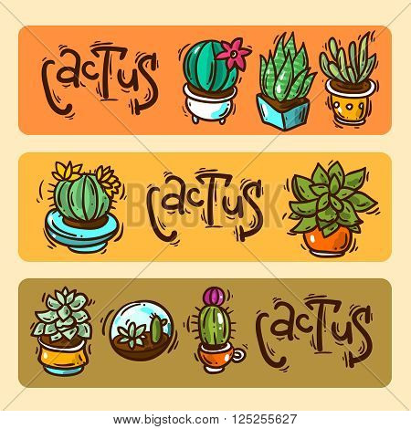 Beautiful hand drawn vector banners cacti and succulents. Doodle style