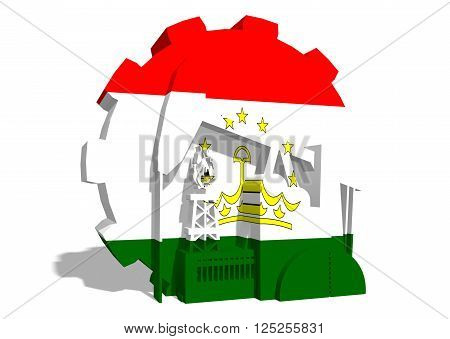 3D gear with oil pump gas rig and factory simple icons textured by Tajikistan flag. Heavy and mining industry concept. 3D rendering