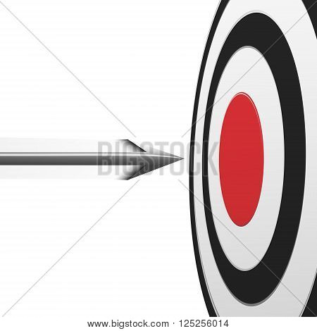 Flying arrow to the red center of round target