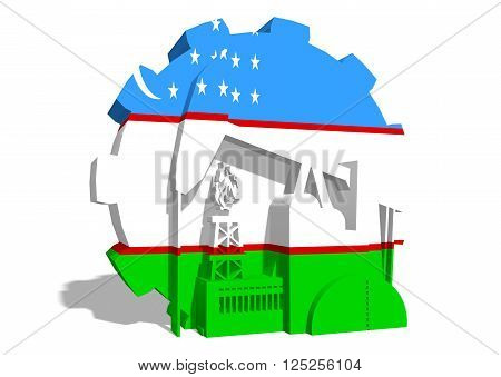 3D gear with oil pump gas rig and factory simple icons textured by Uzbekistan flag. Heavy and mining industry concept. 3D rendering