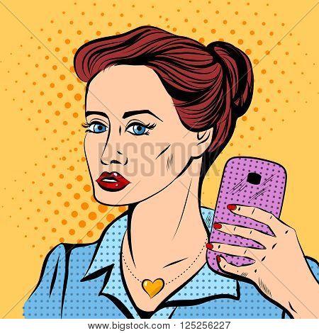 Pretty young girl maks a selfie. Pop art style.