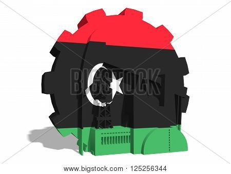 3D gear with oil pump gas rig and factory simple icons textured by Libya flag. Heavy and mining industry concept. 3D rendering
