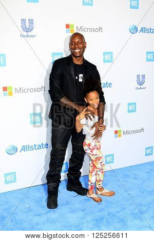 LOS ANGELES - APR 7:  Tyrese Gibson, daughter at the WE Day California 2016 at the The Forum on April 7, 2016 in Inglewood, CA
