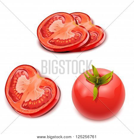 illustration of set of photorealistic tomatos. There are pieces and full tomato.