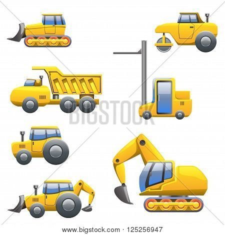 cartoon illustration of set of different yellow type of tractors and heavy maschines view from left side