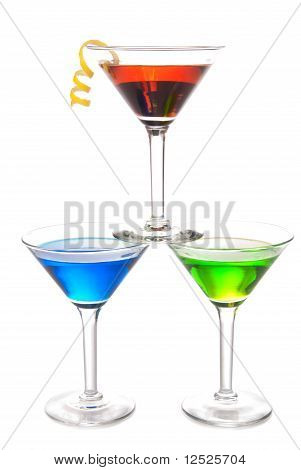 Colorful Martini Cocktails Drink Composition