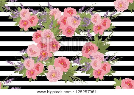 Floral Peony Lavender Background Vector Illustration