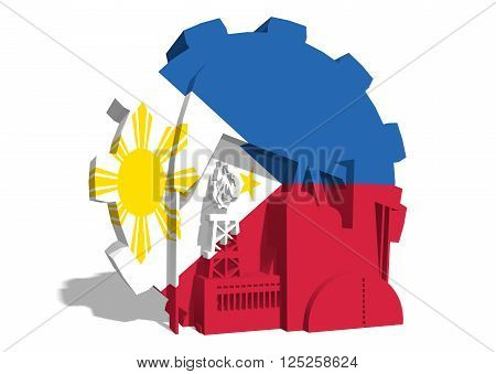 3D gear with oil pump gas rig and factory simple icons textured by Philippines flag. Heavy and mining industry concept. 3D rendering