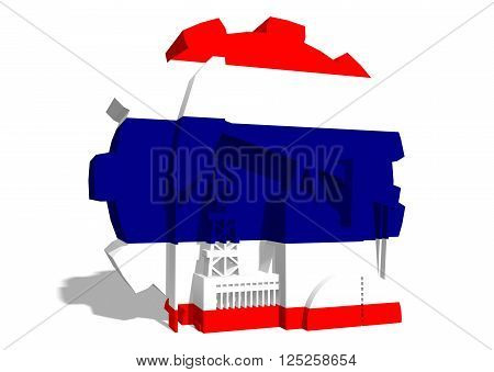 3D gear with oil pump gas rig and factory simple icons textured by Thailand flag. Heavy and mining industry concept. 3D rendering