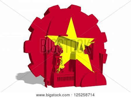 3D gear with oil pump gas rig and factory simple icons textured by Vietnam flag. Heavy and mining industry concept. 3D rendering