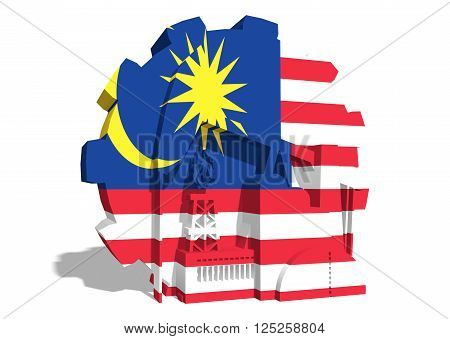 3D gear with oil pump gas rig and factory simple icons textured by Malaysia flag. Heavy and mining industry concept. 3D rendering
