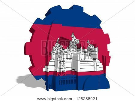 3D gear with oil pump gas rig and factory simple icons textured by Cambodia flag. Heavy and mining industry concept. 3D rendering