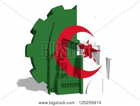 3D gear with oil pump gas rig and factory simple icons textured by Algeria flag. Heavy and mining industry concept. 3D rendering
