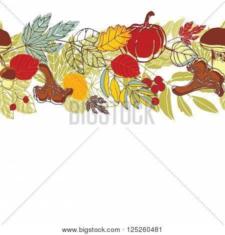 Autumn seamless background. Still life leaves, mushrooms and berries.