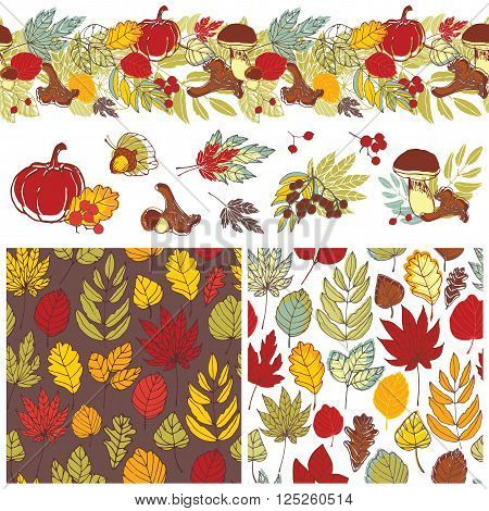 Hand painted backgrounds autumn and still lifes. Two seamless pattern with leaves, seamless border and miniatures for the design.