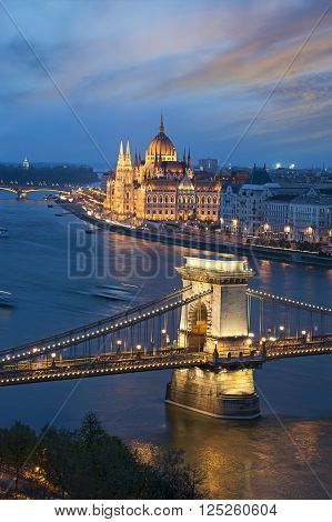 Budapest Landmarks at Sunset, Famous Chain bridge and Parliament building
