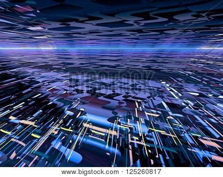 Technology background with targeted receding to the horizon lines and texture. Fractal background for banners, posters, web design