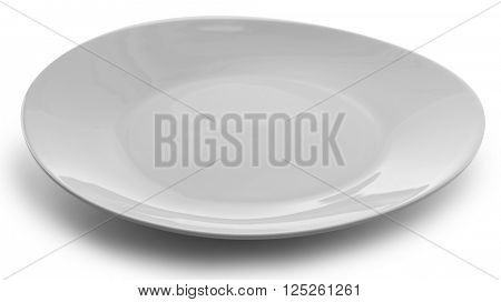 Round ceramic plate, isolated on white