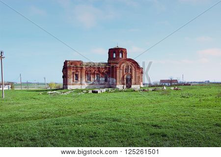 The Church of St. Michael the Archangel. the oldest temple of Melitopol district, built in the late XIX century in a small village Tikhonovka. Built of red brick.