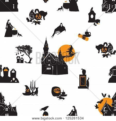 Seamless patten with Halloween miniatures symbolizing Halloween
