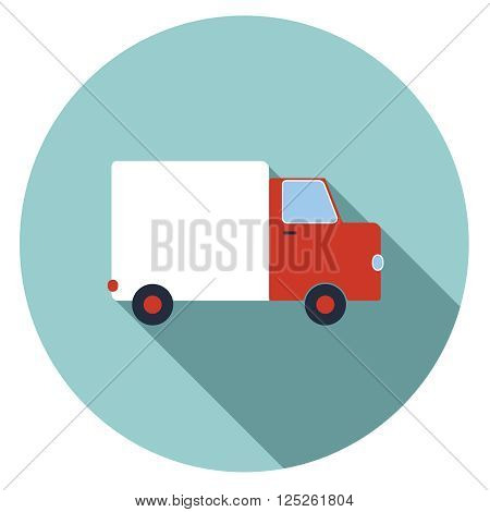 Isolated truck icon with red cabin and white trailer