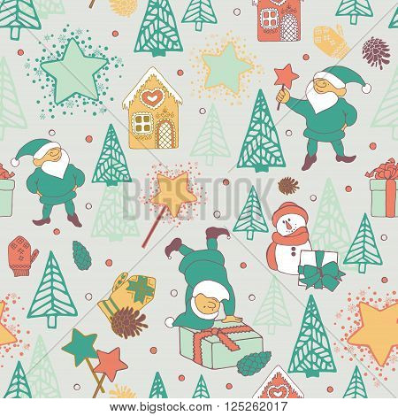 Seamless pattern with festive elves and Christmas trees.