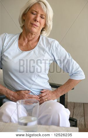 Woman having stomach ache
