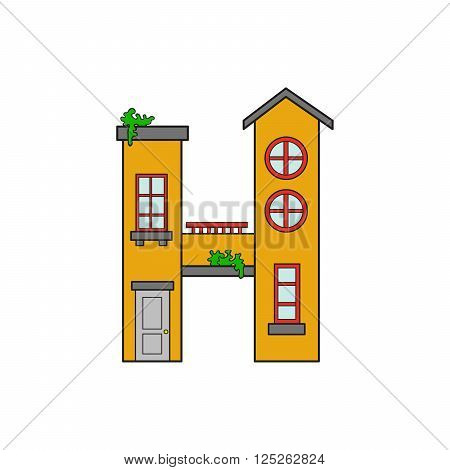Illustration house letter alphabet. Larning the alphabet and literally in kindergarten. Letter isolated. The letter H