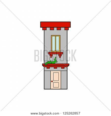 Illustration house letter alphabet. Larning the alphabet and literally in kindergarten. Letter isolated. The letter I