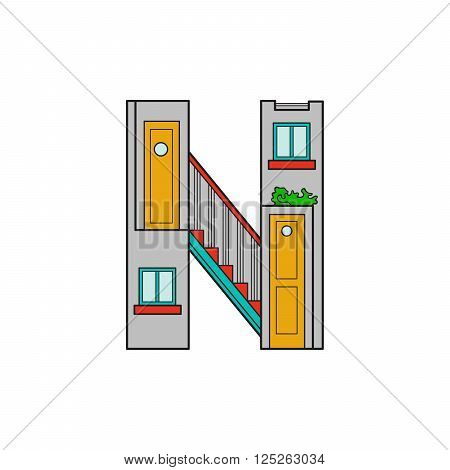 Illustration house letter alphabet. Larning the alphabet and literally in kindergarten. Letter isolated. The letter N