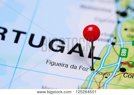 Figueira da Foz pinned on a map of Portugal
