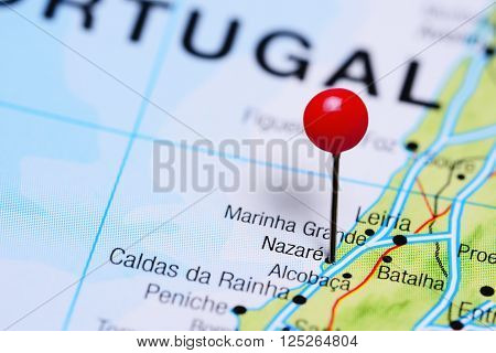 Nazare pinned on a map of Portugal