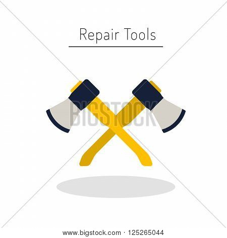 Do it yourself construction repair tools flat logo. Isolated tools flat. Home renovation and construction concept with DIY tools.