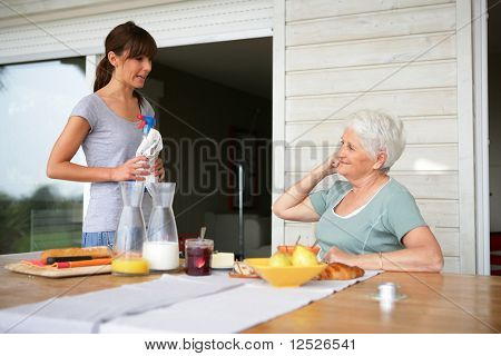 Senior woman with home help