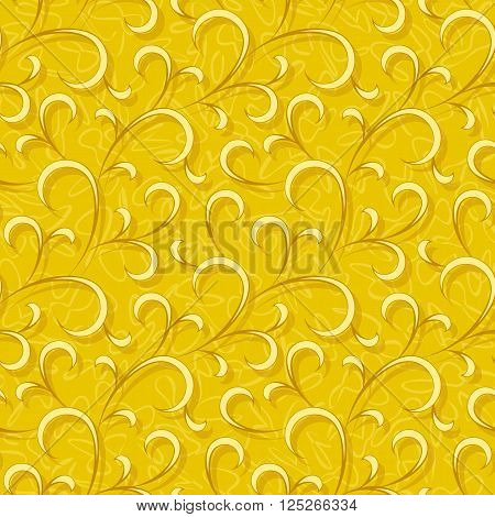 abstract yellow flourish floral swirl seamless background pattern