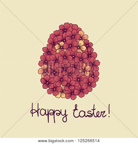 beautiful Easter greeting card with flowers graphics in the form of eggs. Hand-drawn contour lines and strokes. Perfect for background greeting cards and invitations