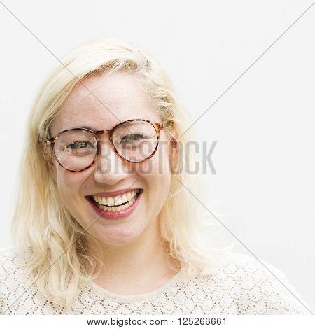 Woman Posing Portrait Fashionable Nerd Concept