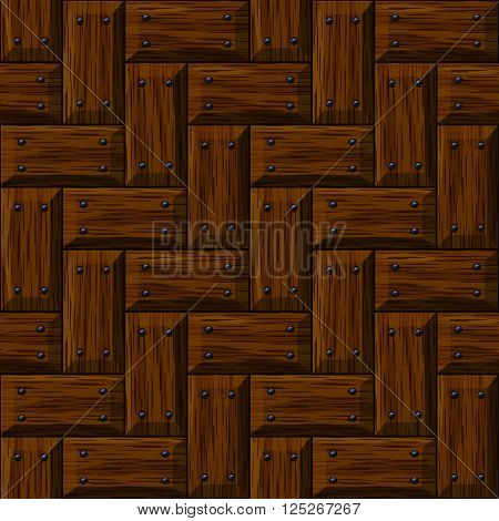 seamless wooden panel door texture with nails background